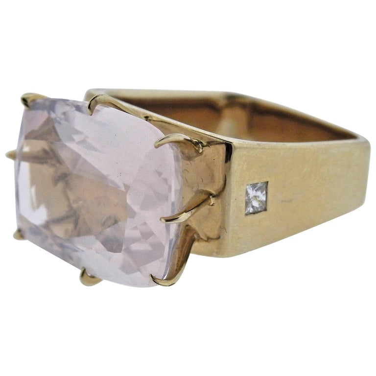 H. Stern Sunrise Rose Quartz Diamond Gold Ring