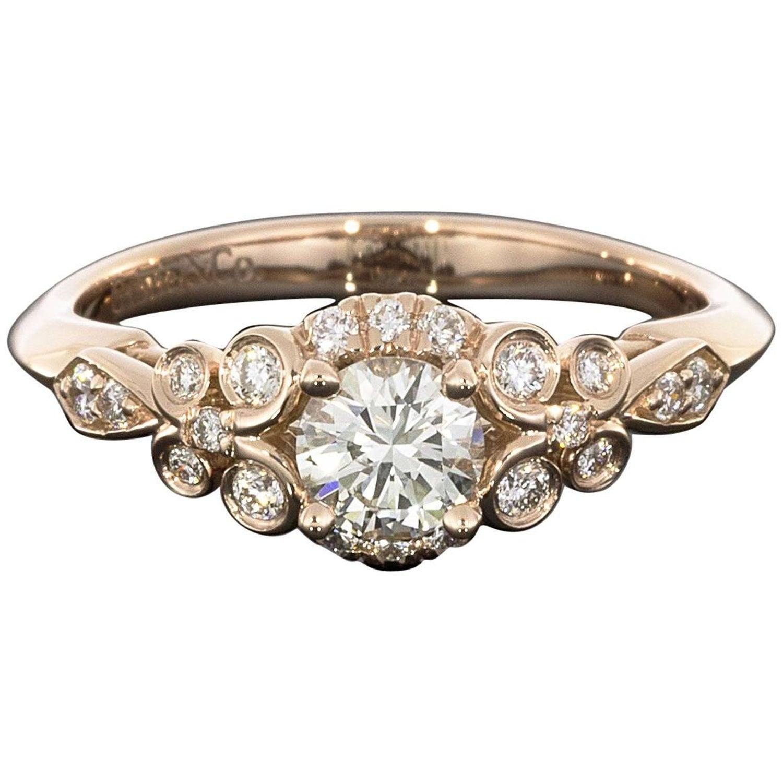 0 42CT Vintage Swirl 14K Rose Gold Diamond Engagement Ring For