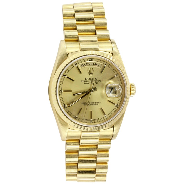 Rolex Yellow Gold Day-Date Presidential Automatic Wristwatch Ref 18238