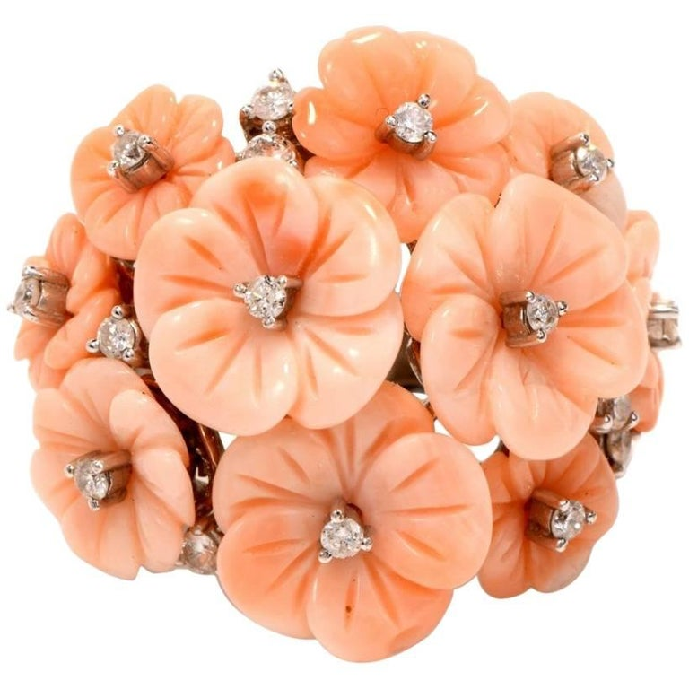 21st Century Angel Skin Coral Diamond 18k White Gold Flower Cocktail Ring