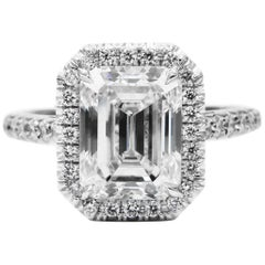 GIA Certified 3.01 Carat Emerald Cut G VS2 Diamond Platinum Pave Halo Ring
