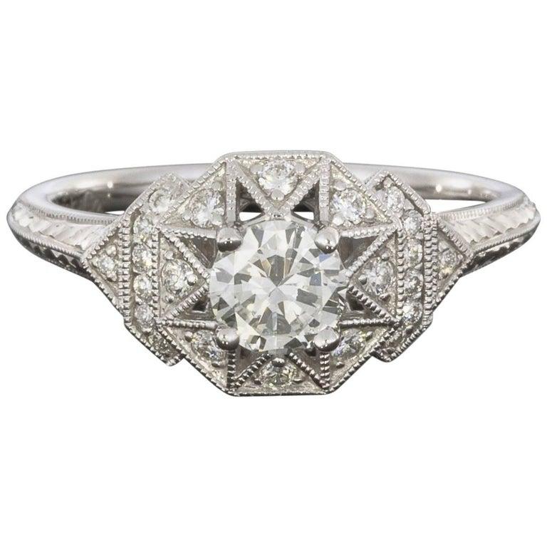 0.40CT Round Center Geo-Dome Halo Diamond Engagement Ring