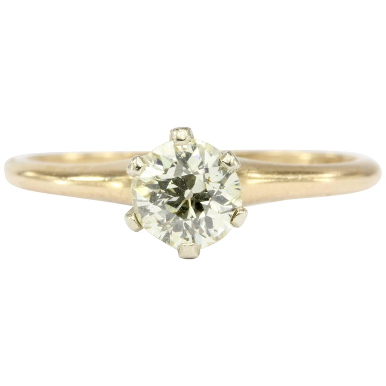 Victorian 14K Gold Ostby & Barton Old European Cut Diamond Engagement Ring