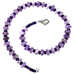 Sparkling two Size Amethyst Necklace with Diamond Clasp