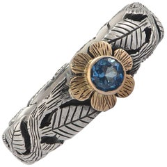 Emma Chapman Blue Topaz Silver Yellow Gold Flower Ring