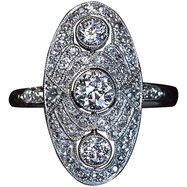 Art Deco Russian Platinum Diamond Engagement Ring 1930s