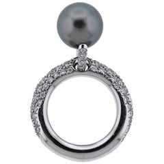 Mikimoto Black South Sea Pearl Diamond Gold Ring