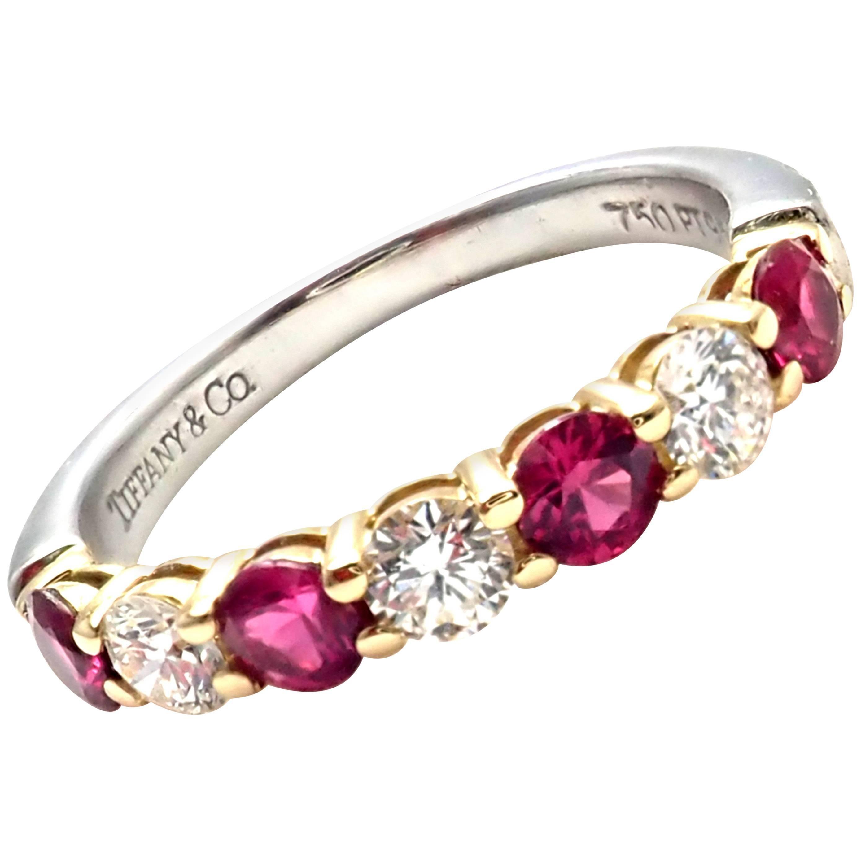 b7da6f216 Tiffany And Co Diamond Ruby Platinum Yellow Gold Band Ring At 1stdibs