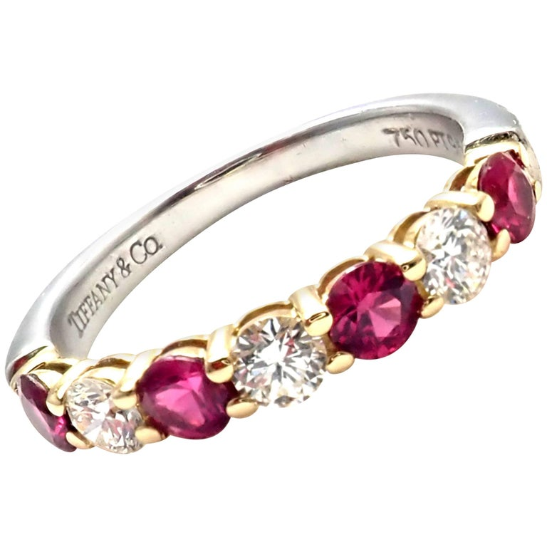Tiffany & Co. Diamond Ruby Platinum Yellow Gold Band Ring