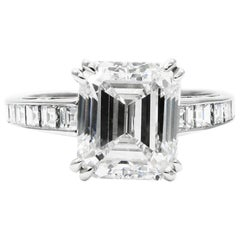 J. Birnbach GIA Certified 3.02 Carat Emerald Cut Diamond Ring