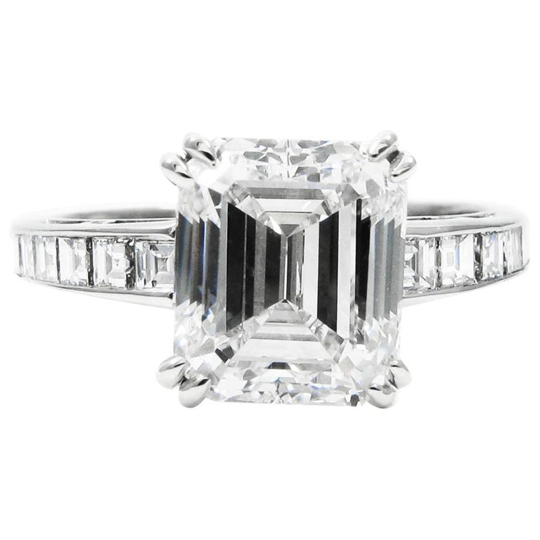 J. Birnbach GIA Certified 3.02 Carat Emerald Cut Diamond Ring For Sale