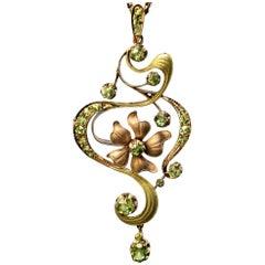 Art Nouveau Antique Russian Demantoid Garnet Gold Pendant