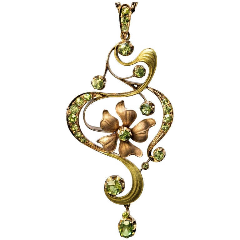 Art Nouveau Antique Russian Demantoid Garnet Gold Pendant For Sale