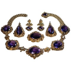 Antique Georgian Era Amethyst Chrysoberyl Gold Parure, circa 1830