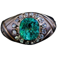 Antique Russian Emerald Diamond Unisex Ring