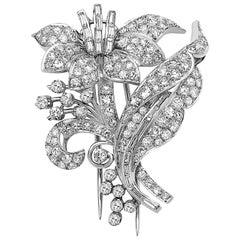 Emilio Jewelry 4.81 Carat Platinum Diamond Brooch