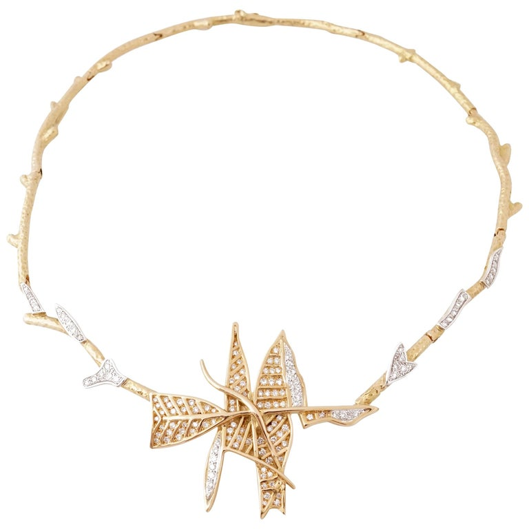 """Rare 1963 Georges Braque Diamonds and Gold """"Alcyone"""" Necklace"""