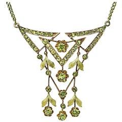 Antique Art Nouveau Russian Chrysolite Gold Necklace