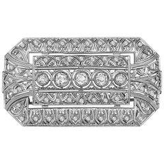 Emilio Jewelry 3.40 Carat Platinum Diamond Brooch