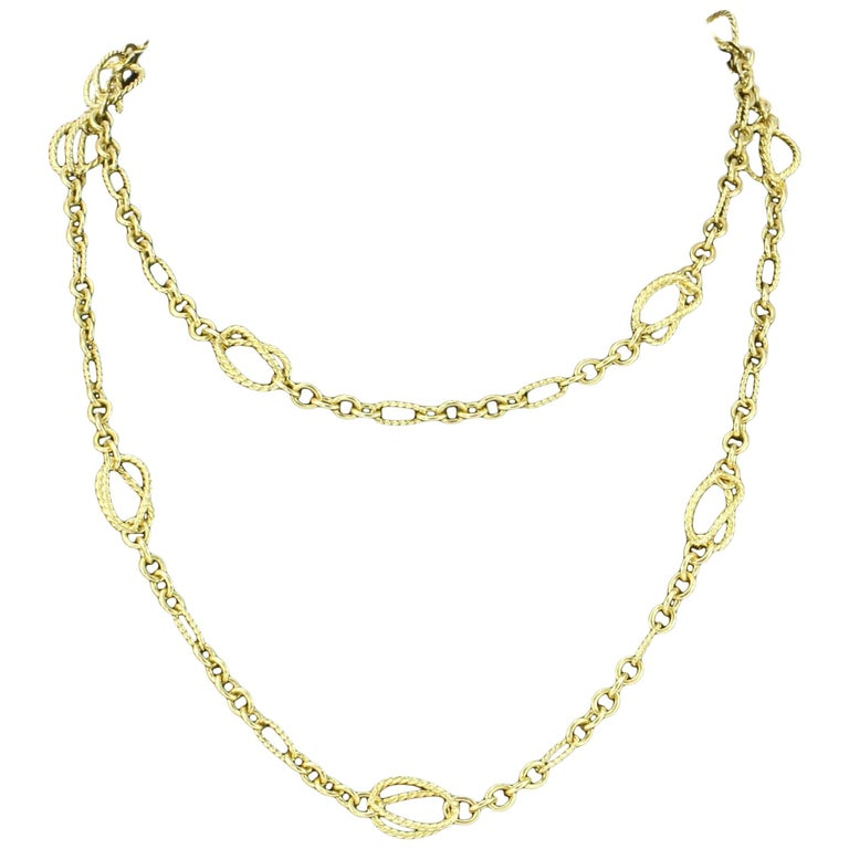 Rare David Yurman 18 Karat Yellow Gold Spiral Link Necklace