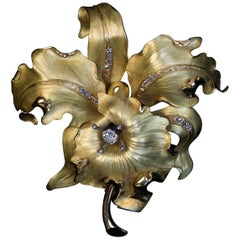 Large Antique Art Nouveau Diamond Gold Orchid Brooch