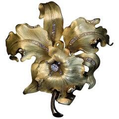 Large Antique Art Nouveau Diamond Gold Orchid Brooch