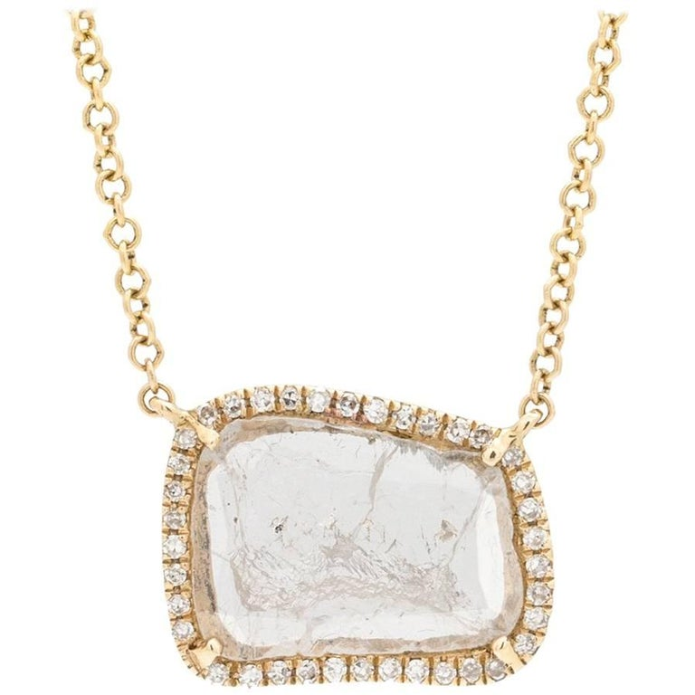 Modern Diamond Slice Pave 14K YG Pendant Necklace 0.66ct For Sale