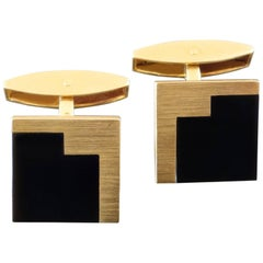 Emil Krauss Post-Modernist Onyx Gold Cufflinks