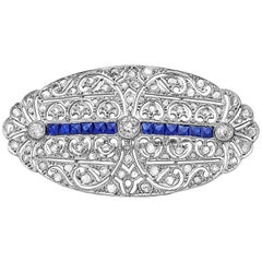 Emilio Jewelry Art Deco Style Diamond Brooch