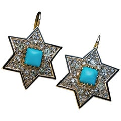 Antique Victorian Turquoise Diamond Gold Star Earrings