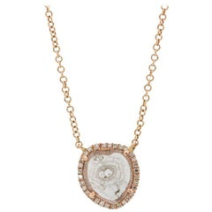 Modern Diamond Slice Pave 14K Pink Gold Pendant Necklace 0.08ct