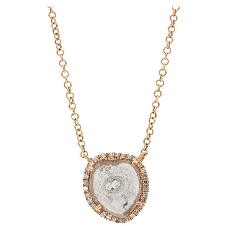 Modern Diamond Slice Pave 14K Pink Gold Pendant Necklace 0.08ct  For Sale