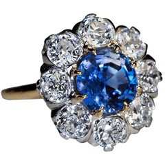 Antique 2.24 Carat Sapphire Diamond Cluster Engagement Ring