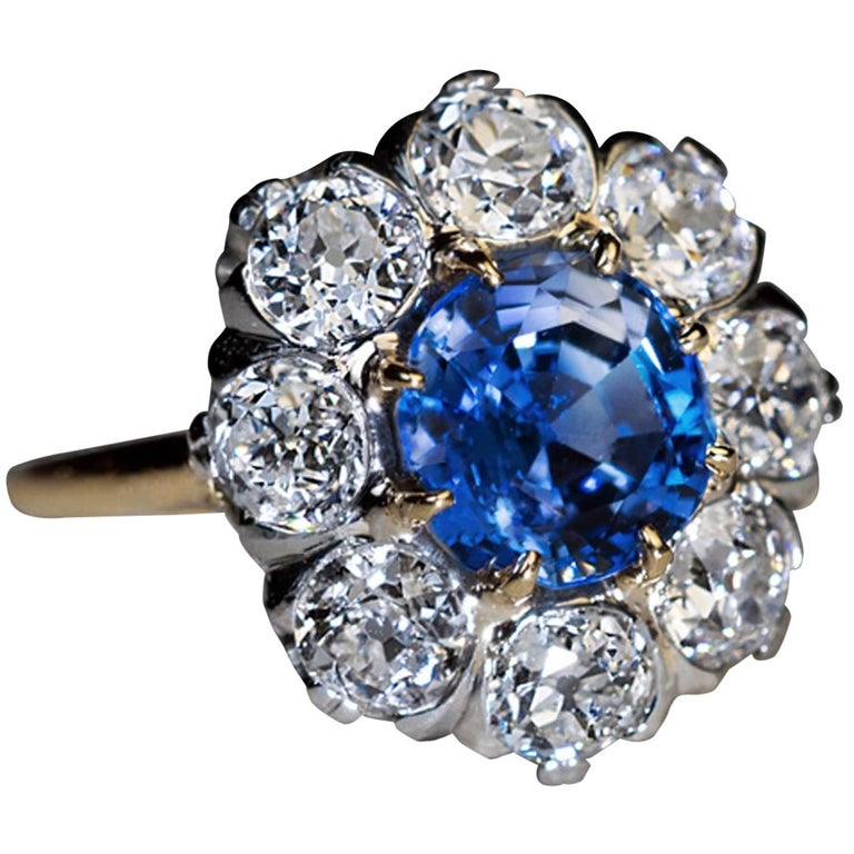 Antique 2.24 Carat Sapphire Diamond Cluster Engagement Ring