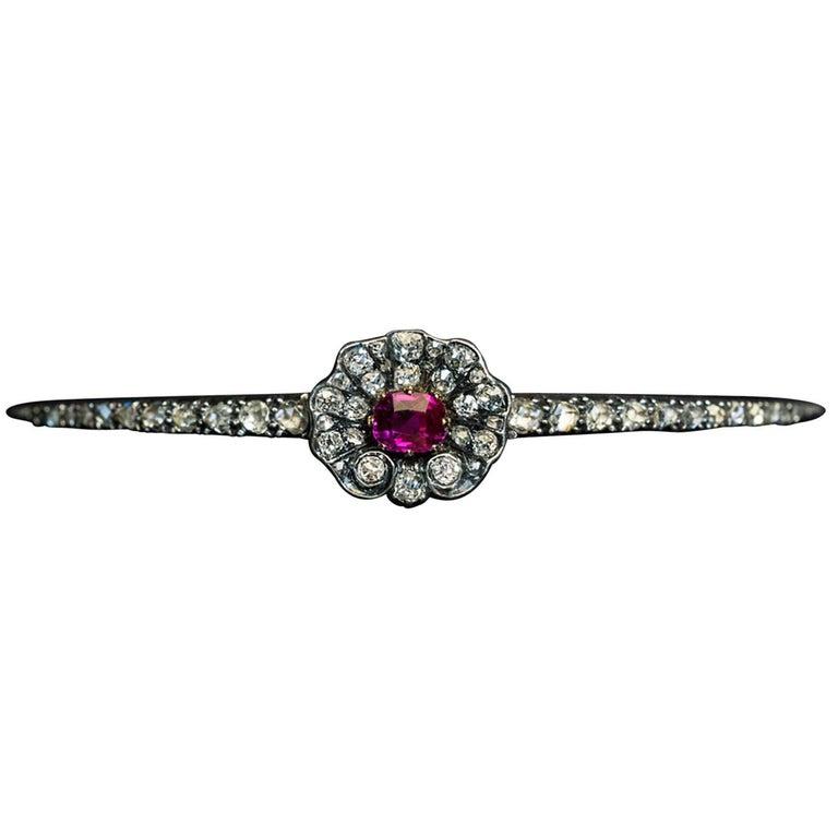 Antique Victorian Ruby Diamond Bangle Bracelet