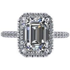 Ferrucci GIA Certified 3.00 Carat Emerald Cut Diamond F Color Engagement Ring