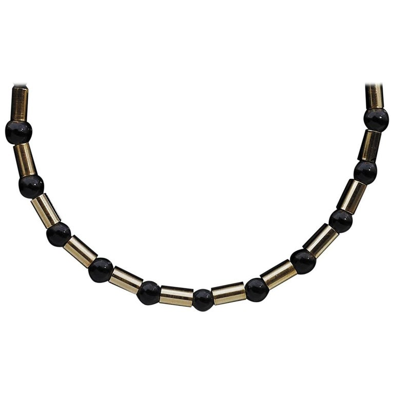Black Onyx and 14 Karat Yellow Gold Bead Necklace