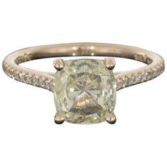 2.03 Carat Cushion Cut GIA Certified 14 Karat Rose Gold Engagement Ring