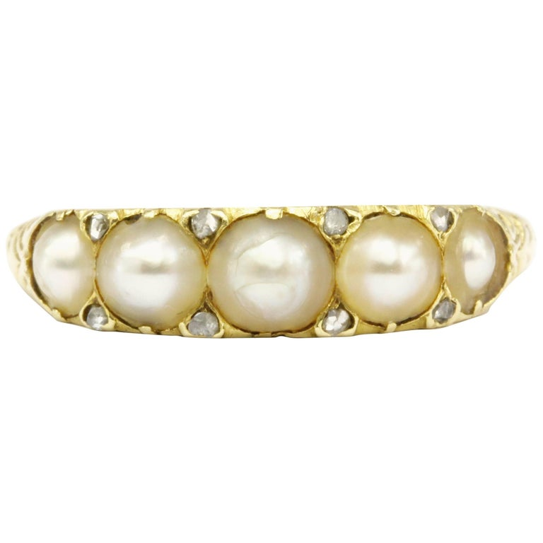 Victorian 18 Karat Yellow Gold Rose Cut Diamond and Natural Pearl Band Ring