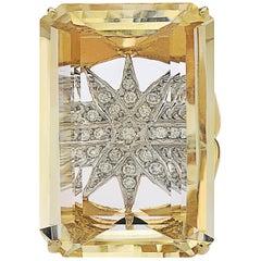 Enormous Citrine Diamond Ring