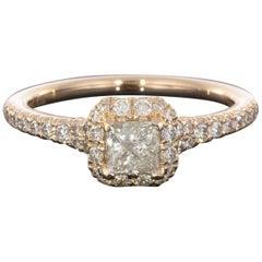 0.45 Carat Princess Halo 14 Karat Rose Gold Diamond Engagement Ring