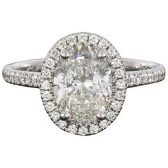 Martin Flyer 2.12 Carat Oval Diamond Platinum Halo GIA Certified Engagement Ring