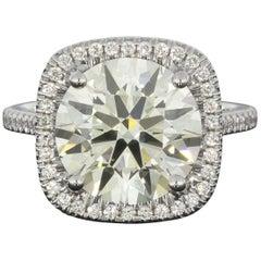 Martin Flyer Platinum 5.42 Carat GIA Certified Diamond Halo Engagement Ring