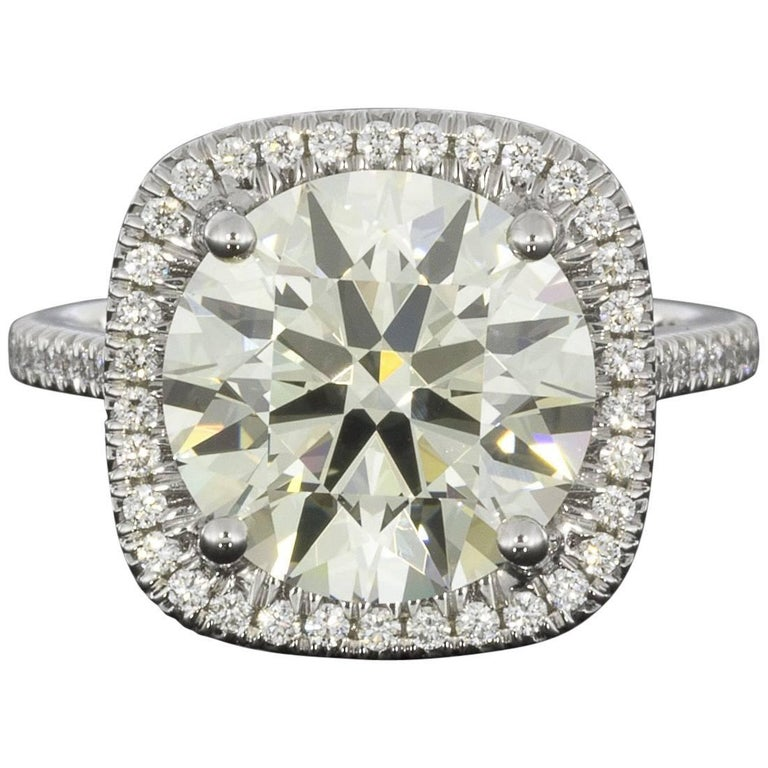 Martin Flyer Platinum 5.42 Carat GIA Certified Diamond Halo Engagement Ring For Sale