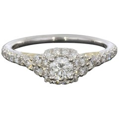 0.24 Carat Round With Cushion Halo In 14K Two Tone Gold Diamond Engagement Ring