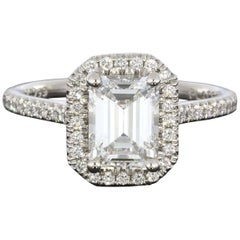 Martin Flyer 1.88 Carat Emerald Cut Platinum Halo GIA Certified Diamond Ring