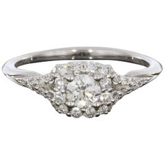 0.25 Carat Round With Cushion Halo 14 Karat Gold Diamond Engagement Ring