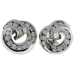 Charles Krypell Round Swirl Diamond Earrings