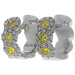 Oliva Yellow and White Diamond Earrings