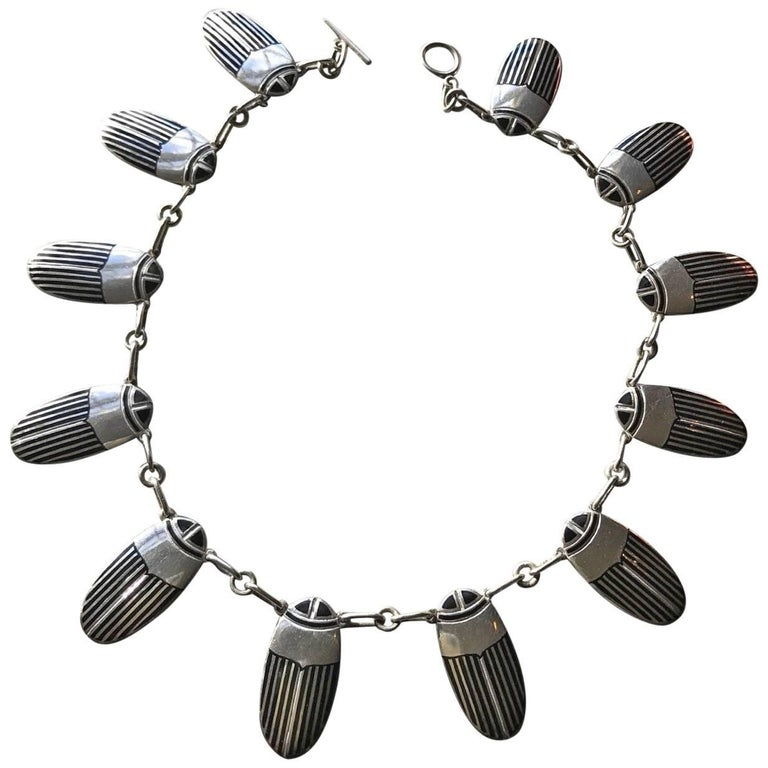 Erik Magnussen Sterling Silver and Enamel Scarab Necklace